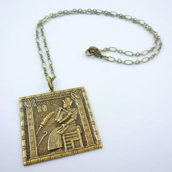 Vintage Design Antique Brass Egyptian Pharaoh's Scribe Pendant Necklace
