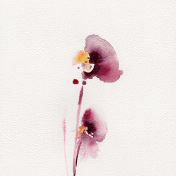 Abstract Flowers Painting, Original Watercolor Painting, Burgundy, Abstract, Modern Painting, Floral Art