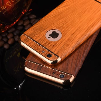 Luxury Wood Grain 3 in1 Full Body Protection Case For Apple iphone 6 6S 7 Plus Shockproof
