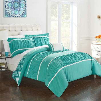 Chic Home 4-Piece Brooks Pleated & Ruffled with Chevron REVERSIBLE Backing King Comforter Set Turquoise Shams and Decorative Pillows included Blue