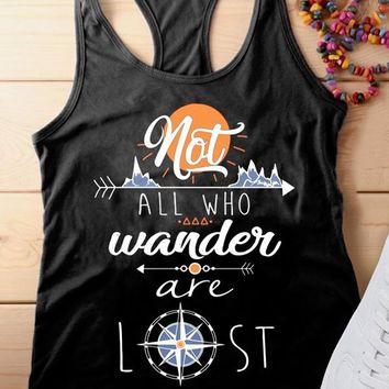 Not All Who Wander Are Lost Letter Print Tank Top