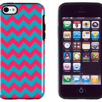 DandyCase 2in1 Hybrid High Impact Hard Aqua & Pink Chevron Pattern + Silicone Case Cover For Apple iPhone 5C + DandyCase Screen Cleaner