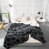 Svetanya Black Print Warm Thick Sherpa Throws Blanket Coverlet Reversible Fuzzy Microfiber All Season Plaid for Bed or Couch