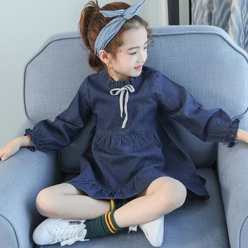Denim Dress For Girls 4 5 6 7 8 9 10 11 12 13t Toddler Girl Clothing Kids School Uniform Long Sleeve Kids Casual Autumn Costume