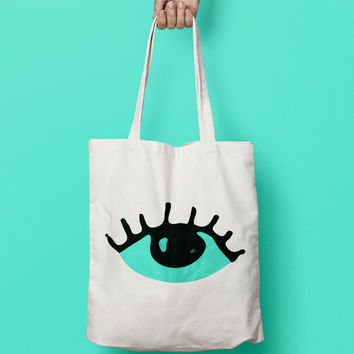Eye tote bag canvas, Funny Tote Bag, Canvas Tote Bag, Printed Tote Bag, Market Bag, Cotton Tote Bag, Large Canvas Tote, Eye Tote Bag Canvas