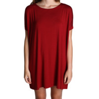 Wine Piko Tunic Short Sleeve Dress