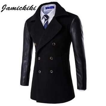 Jamickiki Brand Trench Coat Men Fashion 2016 British Style Men's Double Breasted Sleeve Leather Patchwork Design Jackets & Coats