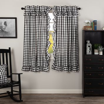 Annie Black Buffalo Check Ruffled Short Panel Curtains