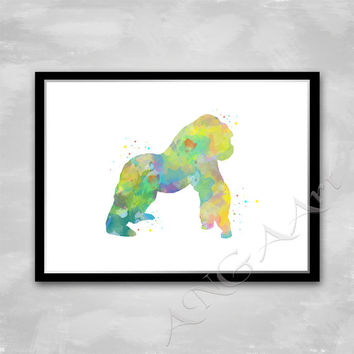 Gorilla, Gorilla wall art, Gorilla poster, Gorilla home decor, Watercolor, home print, Gorilla Printable, Animal print, Primate print