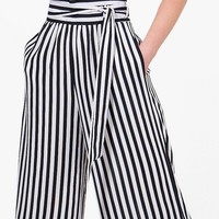 Tie Waist Striped Wide Leg Trousers | Boohoo