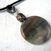 Agate jewellery, may birthstone, viking pendant, male crystal necklace, protection amulet, men norse jewelry, coworker healing gift idea
