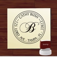 Custom Personalized ROUND SELF INKING Return Address Rubber Stamp - style 1141- cute wedding gift