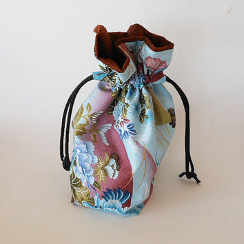 Drawstring Makeup Bag - Japanese Blue Flowers - Japanese Fabric - Asian Fabric - Makeup Pouch - Cosmetic Bag - Adorable Little Jewelry Bag