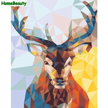 Home Beauty deer diy oil painting by numbers abstract acrylic Modular picture for living room coloring by number wall art E776