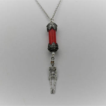 Halloween Necklace, Blood Vial and Skeleton Necklace