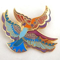 "Vintage LAUREL BURCH Enamel ""Ethereal Birds"" Pin"