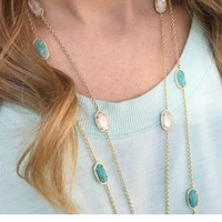 Kellie Gold Long Necklace in Turquoise - Kendra Scott Jewelry