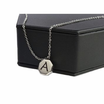 Dainty Beveled Octagon Initial Necklace By Pink Box