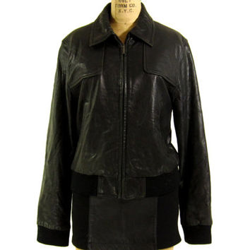 Vintage Leather Bomber Jacket - Dark Brown Biker Motorcycle Cafe Coat - Women's Size Medium Large Med Lrg M L
