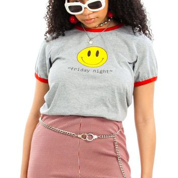 Vintage 90's Friday Night Smiles Ringer Tee - XS/S/M