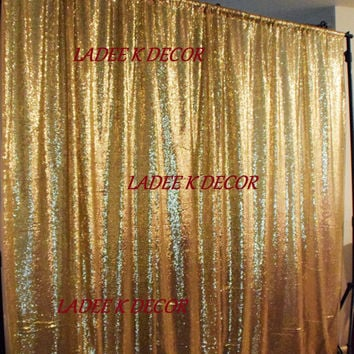Gold Sequin Backdrop 9''w X 12'L photo prop curtain wedding sweet quinceanera bridal shower party