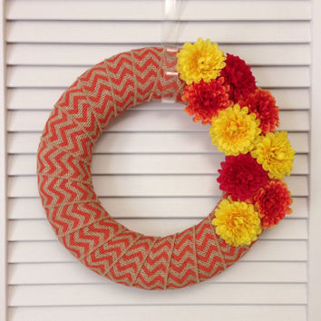 "Fall Wreath, Modern Fall Burlap Wreath, 12"" with Orange Chevron Burlap Ribbon and Red, Orange, and Yellow Fall Colored Flowers"