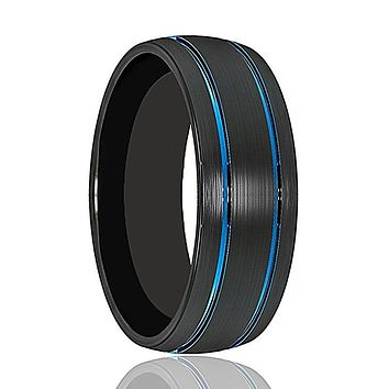 Mens Wedding Band - Tungsten Wedding Band - Black Tungsten Brushed - Double Groove Blue Inlay Domed  - Tungsten Wedding Ring - Man Tungsten Ring - 8mm
