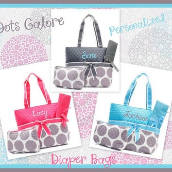 Polka Dot Quilted Personalized Diaper Bag
