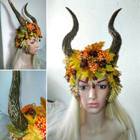 Horned dragon horns vegan Enchantress autumn fall leaves maleficent carnival halloween fantasy headdress headpiece