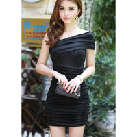 Black One Shoulder Ruffled Mini Dress