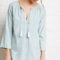 Embroidered Chambray Tunic