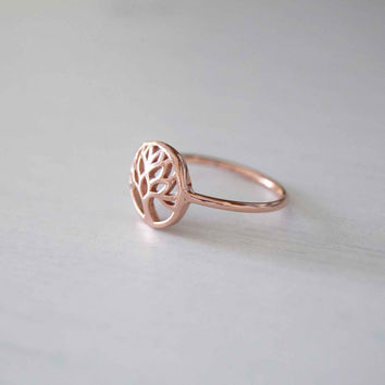 Sterling tree of life ring, Rose Gold tree of life ring, Yoga ring, minimalist ring, everyday ring, mothers day gift, simple ring, Boho ring