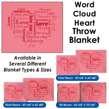 Valentine's Day - Word Cloud Heart Throw Blanket / Tapestry Wall Hanging