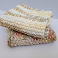 Two Knitted Wash Cloths