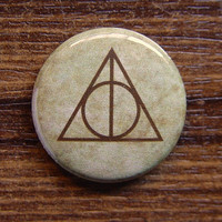 "Pin or Magnet - HP10 - Deathly Hallows Symbol - Harry Potter - 1"" inch Pinback Button Badge or Fridge Magnet"