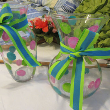 Hand Painted Smaller Happy Dots Clear Glass Vase - Hot Pink, Aqua, and Lime Green With Aqua and Lime Green Bow for Accent