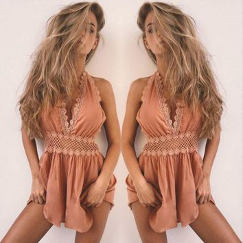 Fashion Sexy Halter Sleeveless Deep V Backless Hollow Lace Stitching Romper Jumpsuit Shorts-1