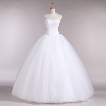 2016 Real Sample Custom Plus Size Wedding Dress Lace Vintage Tulle Ball Gown Cheap Wedding dresses Bridal Gown WD1502