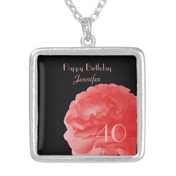 Customized Necklace Coral Pink Rose 40th Birthday