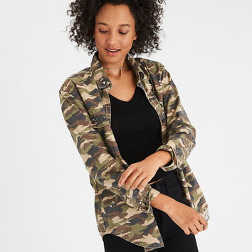 AE Oversized Camo Shirt Jacket, Olive