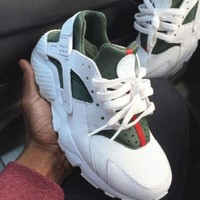 NIKE Huaraches & Gucci Fashion Unisex Personality Breathable Running Sport Sneakers Shoes White I