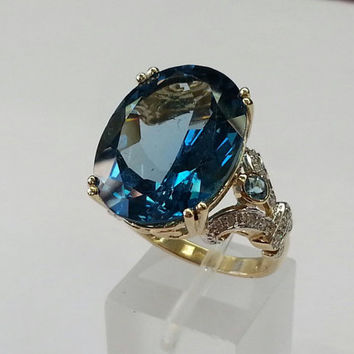 10k gold vintage cocktail ring