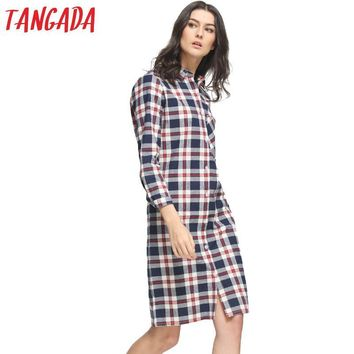 Tangada Women Dress Fashion Autumn Cotton Plaid Print Front Back Buttons Pocket Long Sleeve Turn-down Collar Casual Brand QB37