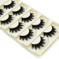 5 Pairs Soft Women Lady Makeup Thick False Eyelashes Eye Lashes Long Black Nautral Handmade Makeup Beauty Tools-JM