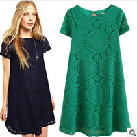 Summer Short Sleeve Hollow Out Lace Dress One Piece Dress [6414511105]