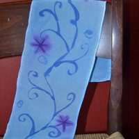 Silk Scarf/Scarflette with Vines and Flowers
