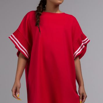 Casual Midi Sleeve Shift Dress with Striped Pleated Sleeves in Red