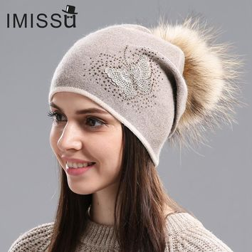 IMISSU Women's Hats for Winter Knitted Wool Beanie Casual Hat with Real Raccoon Fur Pom Pom Solid Colors Ski Gorros Mask Cap