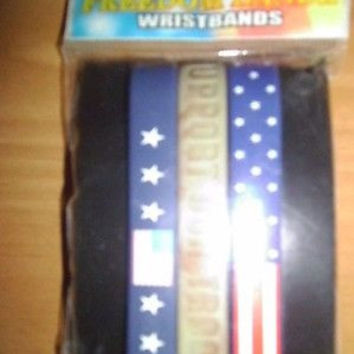 PACK OF 3 MULTI COLORED FREEDOM BANDZ WRISTBANDS