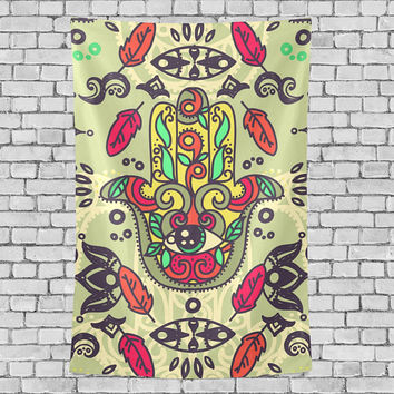 Vintage Hamsa Hand Tapestry Fatima Ethnic Sign Wall Decor Art